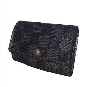 Authentic Louis Vuitton Black Damier Key Case